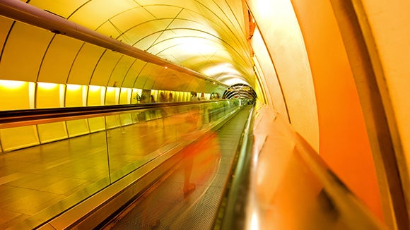 yellow tunnel of subway