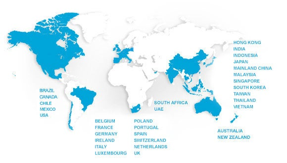 map of robert walters global presence